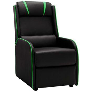 vidaXL Leunstoel kunstleer zwart en groen