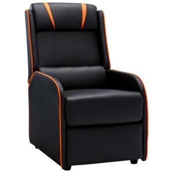 vidaXL Leunstoel kunstleer zwart en oranje