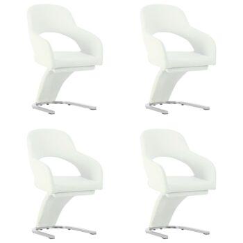 vidaXL Eetkamerstoelen 4 st kunstleer wit