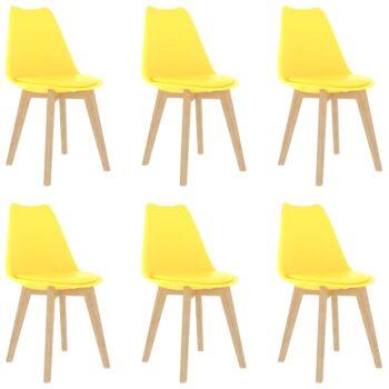 vidaXL Eetkamerstoelen 6 st kunststof geel