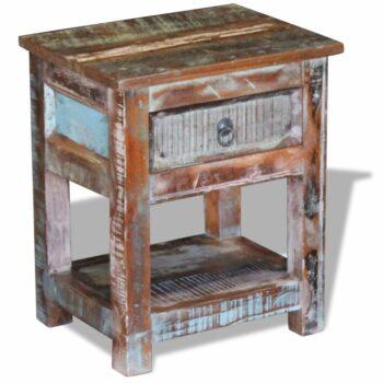 vidaXL Bijzettafel met lade 43x33x51 cm massief gerecycled hout