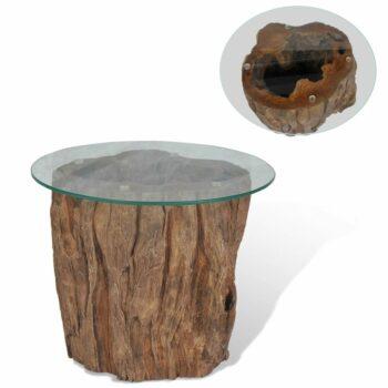 vidaXL Salontafel 50×40 cm teakhout en glas