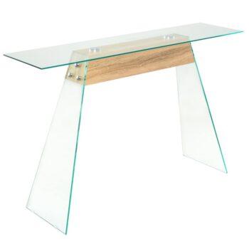 vidaXL Wandtafel 120x30x76 cm MDF en glas eikenkleur
