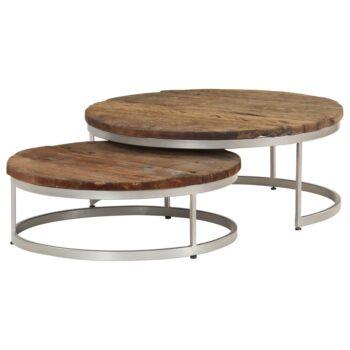 vidaXL 2-delige Salontafelset gerecycled hout en staal