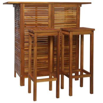 vidaXL 3-delige Bartafel- en stoelenset massief acaciahout