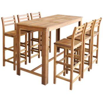 vidaXL Bartafel- en stoelenset massief acaciahout 7-delig