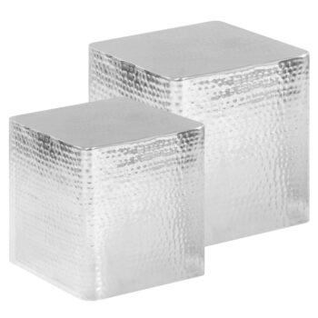 vidaXL Salontafel 2 st aluminium zilver