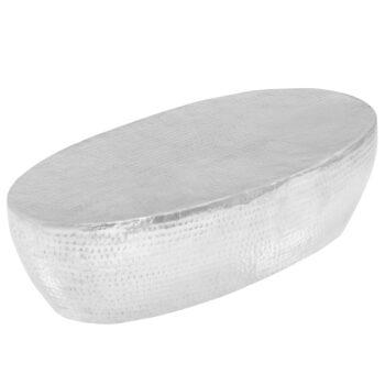 vidaXL salontafel 100x50x28 cm gehamerd aluminium zilver