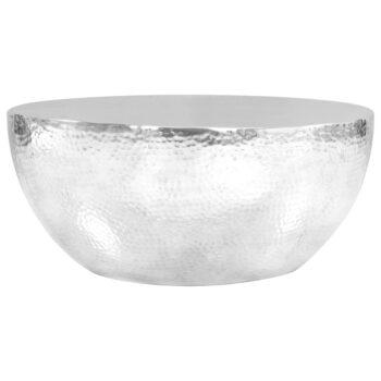 vidaXL Salontafel 70×30 cm gehamerd aluminium zilverkleurig