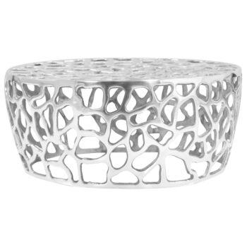 vidaXL Salontafel 70×30 cm gegoten aluminium zilverkleurig