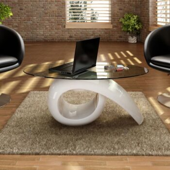 vidaXL Salontafel met ovaal glazen tafelblad hoogglans wit