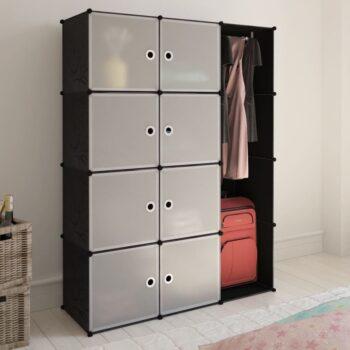 vidaXL Kast met 9 vakken modulair 37x115x150 cm zwart en wit