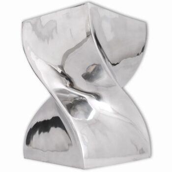 vidaXL Kruk/bijzettafel in gedraaide vorm zilver aluminium