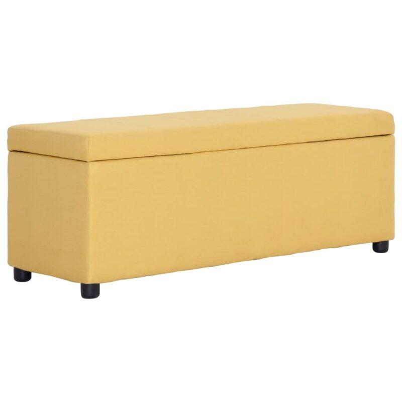 vidaXL Bankje met opbergvak 116 cm polyester geel