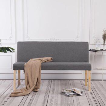 vidaXL Bankje 139,5 cm polyester lichtgrijs
