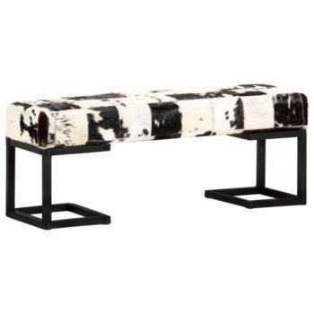 vidaXL Bankje patchwork 110 cm echt geitenleer zwart