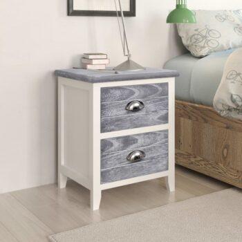 vidaXL Nachtkastje 38x28x45 cm paulowniahout grijs en wit