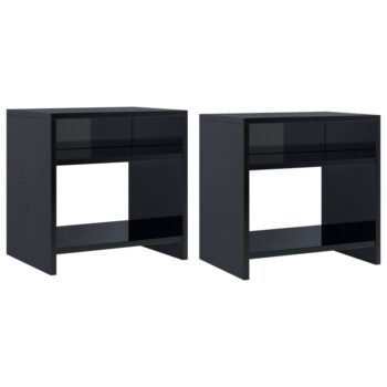 vidaXL Nachtkastjes 2 st 40x30x40 cm spaanplaat hoogglans zwart