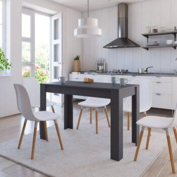 vidaXL Eettafel 120x60x76 cm spaanplaat hoogglans grijs