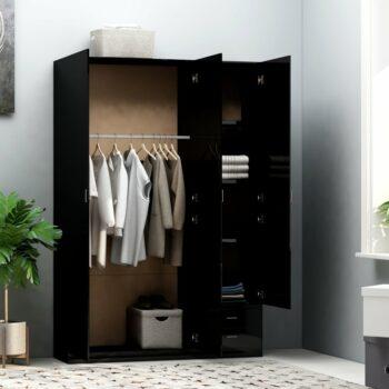 vidaXL Kledingkast 3-deurs 120x50x180 cm spaanplaat hoogglans zwart