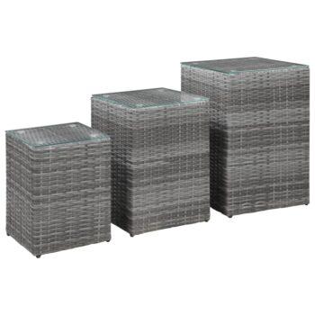 vidaXL 3-delige Bijzettafelset met glazen blad poly rattan grijs