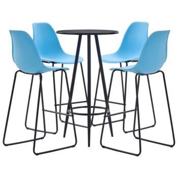vidaXL 5-delige Barset kunststof blauw