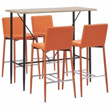 vidaXL 5-delige Barset kunstleer oranje
