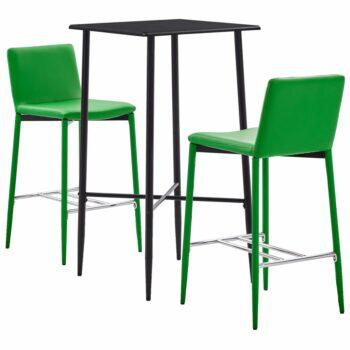 vidaXL 3-delige Barset kunstleer groen