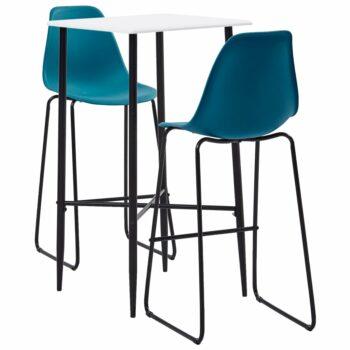 vidaXL 3-delige Barset kunststof turquoise