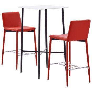 vidaXL 3-delige Barset kunstleer rood