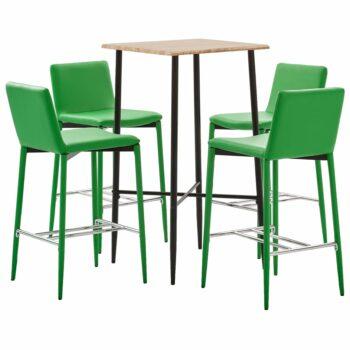 vidaXL 5-delige Barset kunstleer groen