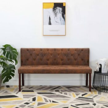 vidaXL Bankje 148,5 cm kunstsuède bruin