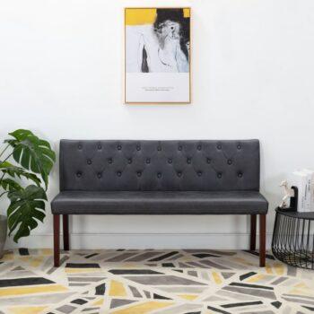 vidaXL Bankje 148,5 cm kunstsuède grijs