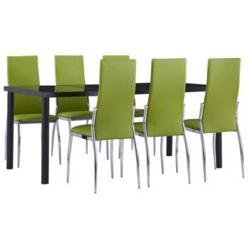 vidaXL 7-delige Eethoek kunstleer groen