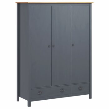 vidaXL Kledingkast 3 deuren Hill Range 127x50x170 cm grenenhout grijs