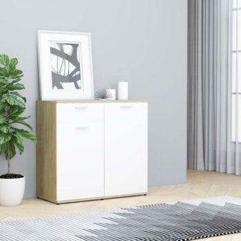 vidaXL Dressoir 80x36x75 cm spaanplaat wit en sonoma eikenkleurig