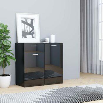 vidaXL Dressoir 80x36x75 cm spaanplaat hoogglans zwart