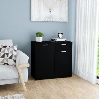 vidaXL Dressoir 80x36x75 cm spaanplaat zwart