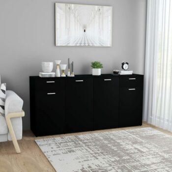 vidaXL Dressoir 160x36x75 cm spaanplaat zwart