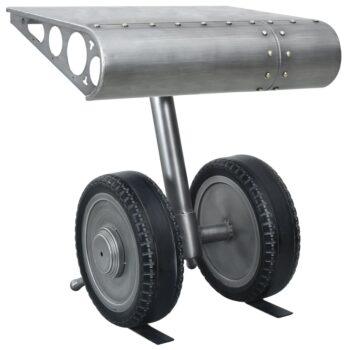 vidaXL Bijzettafel met wielontwerp 53x40x60 cm ijzer zilverkleur zwart