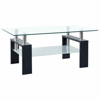 vidaXL Salontafel 95x55x40 cm gehard glas zwart