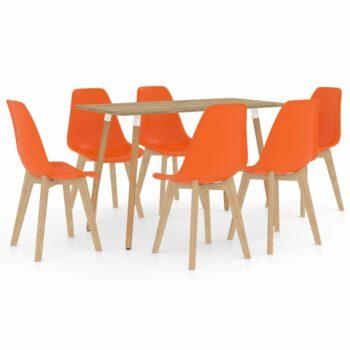 vidaXL 7-delige Eethoek oranje