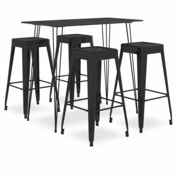 vidaXL 5-delige Barset zwart