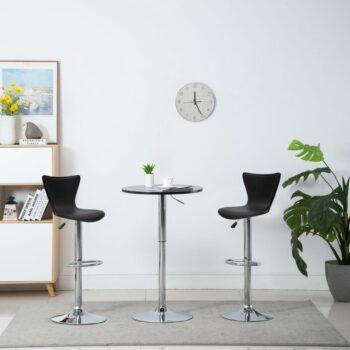 vidaXL Barstoelen draaibaar 2 st kunstleer zwart