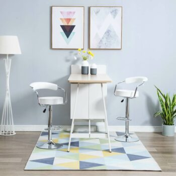 vidaXL Barstoelen draaibaar 2 st kunstleer wit