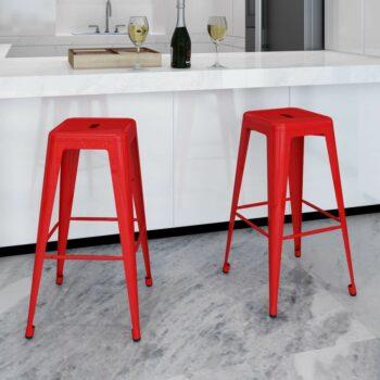 vidaXL Barkrukken 2 st staal rood