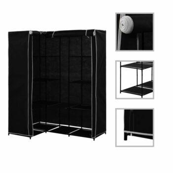 vidaXL Hoekkledingkast 130x87x169 cm zwart