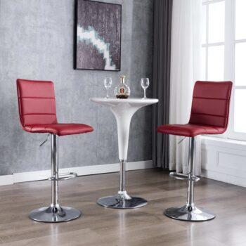 vidaXL Barstoelen 2 st kunstleer wijnrood
