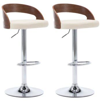 vidaXL Barstoelen 2 st kunstleer en gebogen hout crème