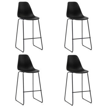vidaXL Barstoelen 4 st kunststof zwart